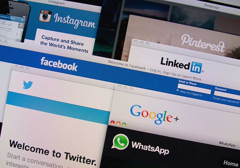Social Media Accounts Open in Browsers