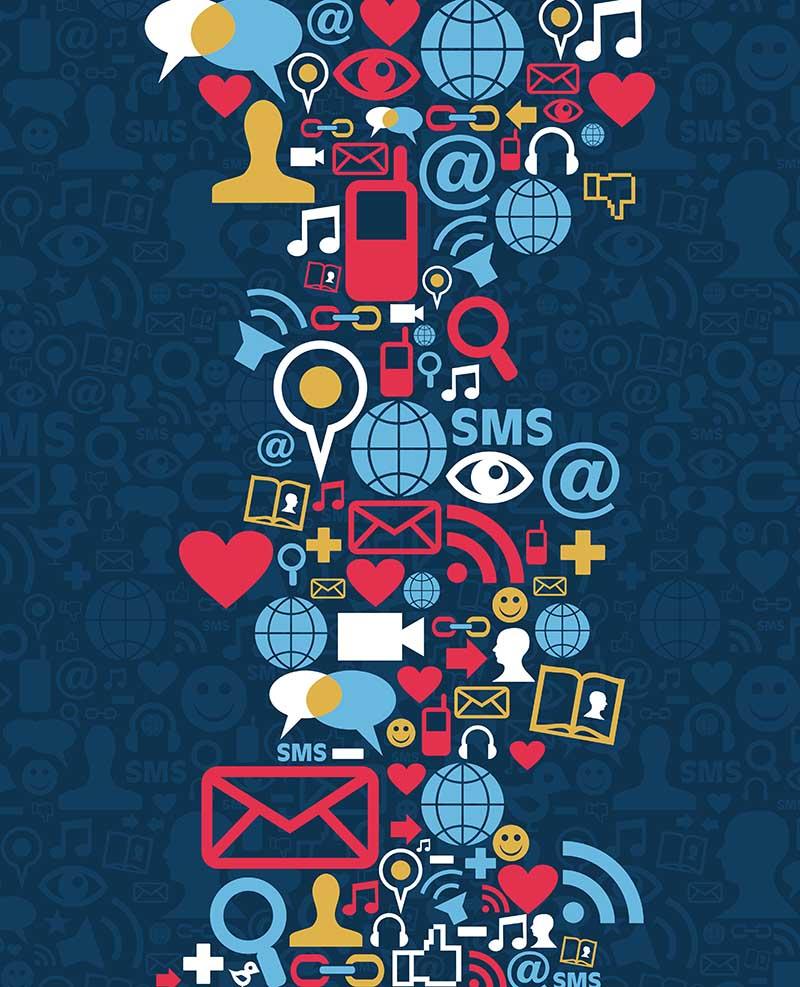 Social Media Icon Wave