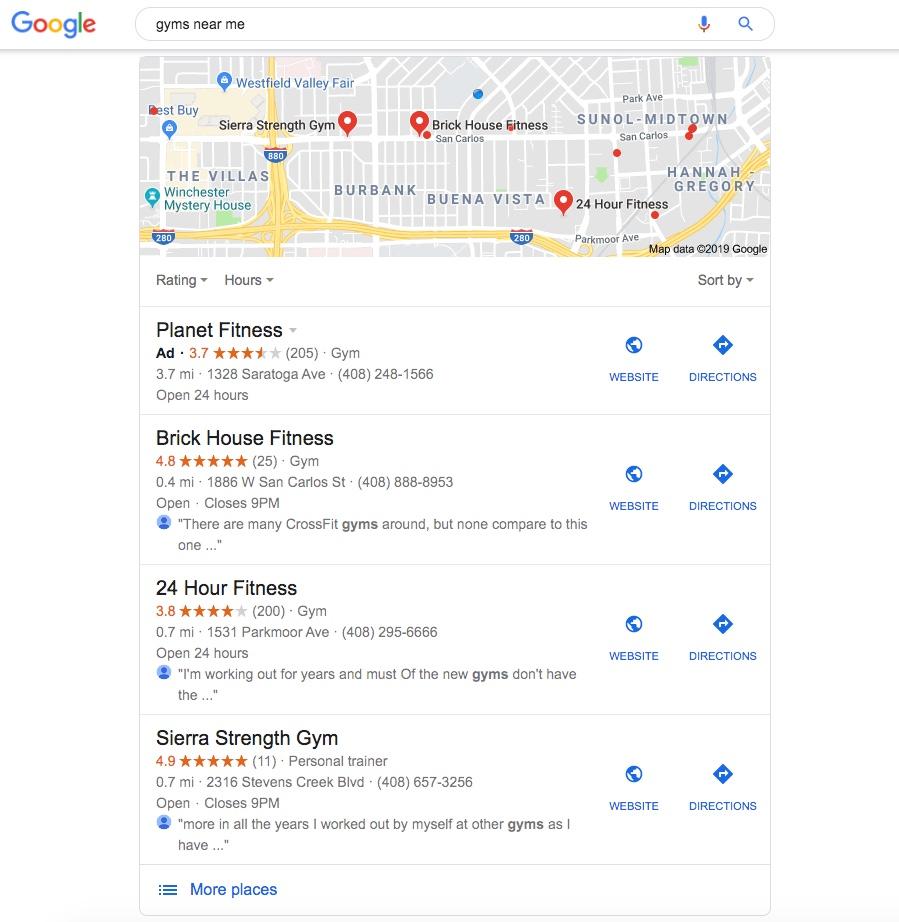 Google My Business Gyms Near Me