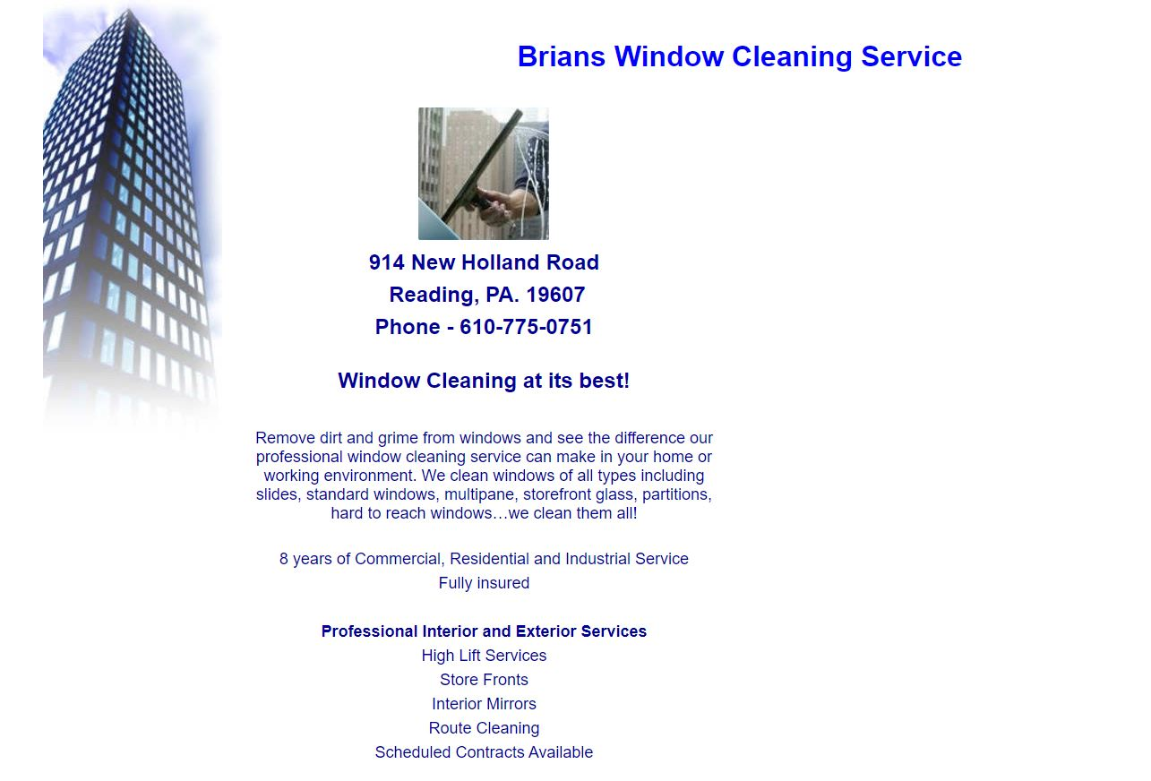 Brian's Window Cleaning before Amity Digital